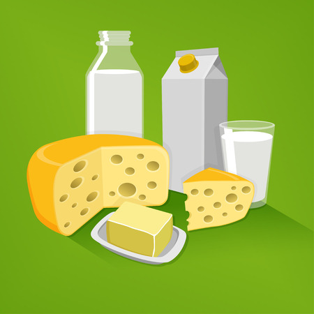 An editable flat vector illustration of dairy products on a green background