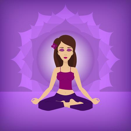 lotus pose: An editable flat vector illustration of Yoga lotus pose on a violet background Illustration