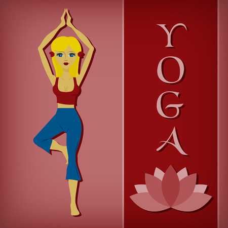 yoga asana tree pose: An editable flat vector illustration of Yoga tree pose and a lotus