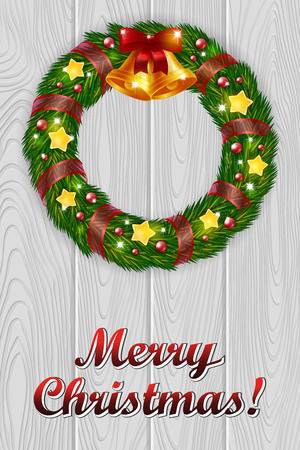 wishing card: An editable vector illustration of a Christmas wreath with bells on a wooden background