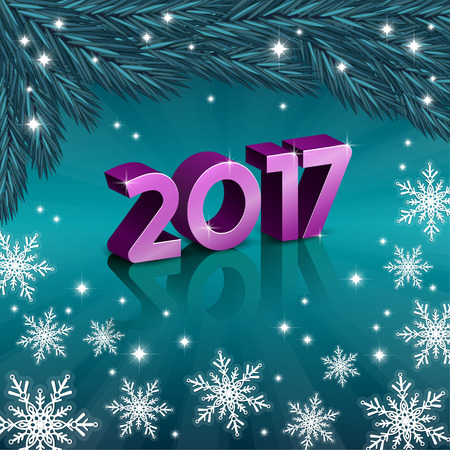 wishing card: Vector illustration of new 2017 year numbers with snowflakes
