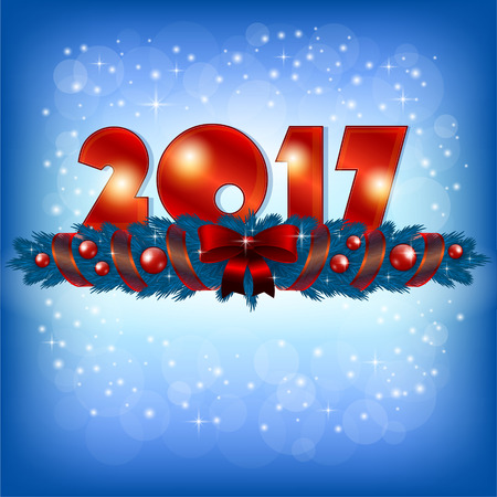 wishing card: An editable vector illustration of 2017 New Year numbers and Xmas decoration