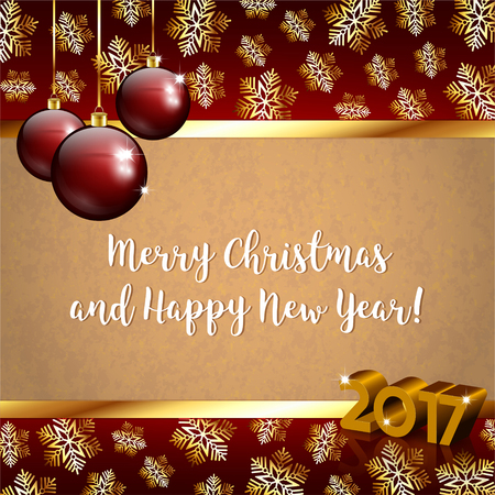 wishing card: Vector illustration of Christmas background with snowflakes and baubles