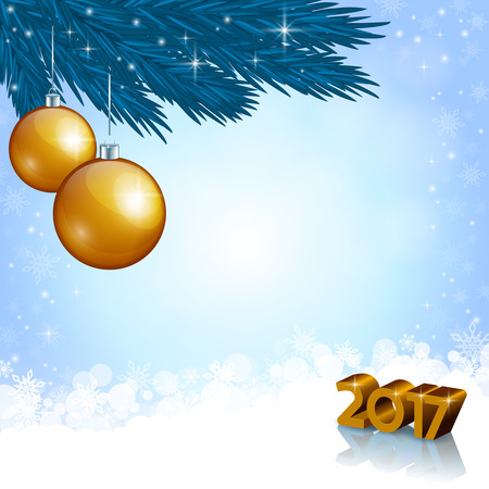 wishing card: An editable vector illustration of golden baubles and New 2017 Year numbers
