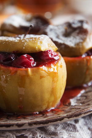 Vertical macro photo of a brown plate of baked apples with cranberries