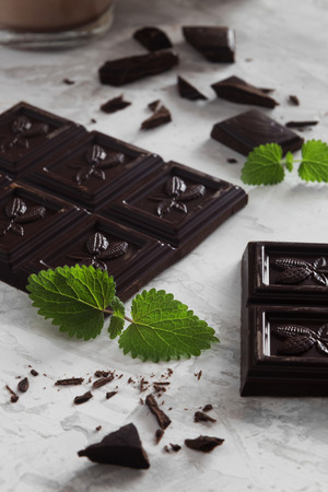 Vertical photo of pieces of mint dark chocolate
