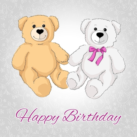 Happy birthday teddy bear Vector