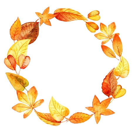 watercolor leaves round frame. Vector illustration Vectores