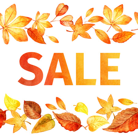 Seamless pattern of autumn leaves. Autumn sale watercolor. vector Vector