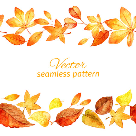 Seamless pattern of autumn leaves. two lanes. vector Vector