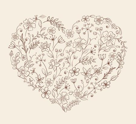 vintage scrolls: heart of the flower pattern Illustration
