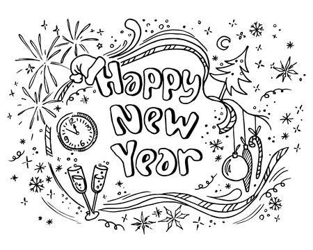 Doodle new year Vectores