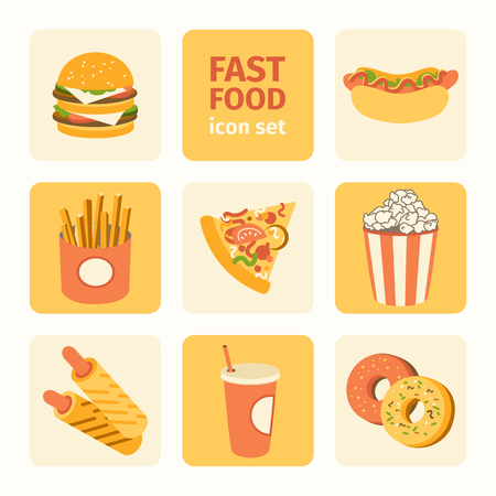 vector icon set fast food Vector