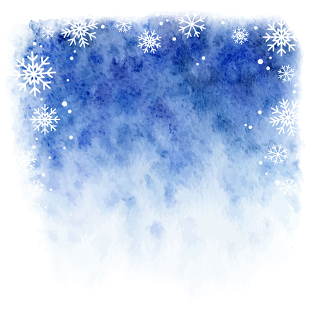 winter watercolor background. Blue sky with falling snowflakes Vettoriali
