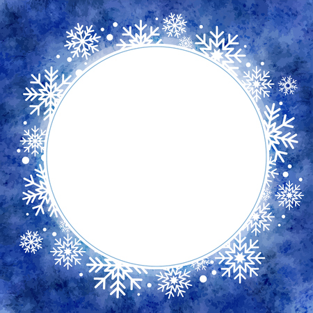 winter watercolor illustration. round frame with snowflakes Vector
