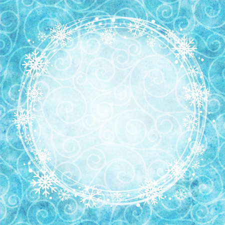 snowflake border: Frame of snowflakes on a watercolor background. Illustration