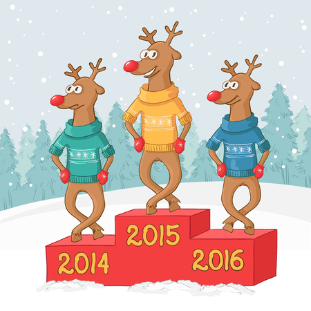 three deer on a pedestal. Winter forest landscape. Vector