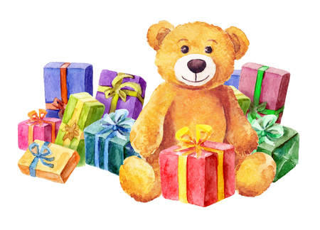 A teddy bear sits on a background of gifts. Watercolor. vector Vectores