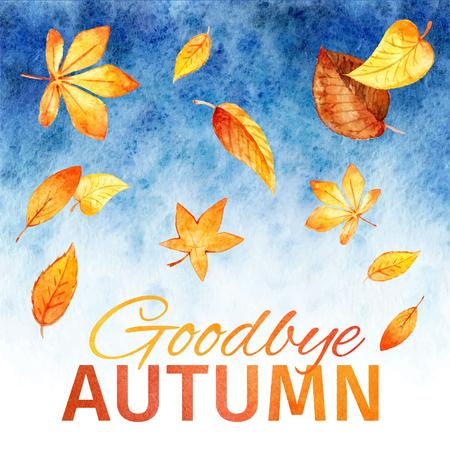 addio: foglie acquerello. Addio autunno. vector background