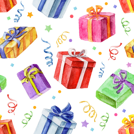 Seamless pattern with Christmas and New Year gifts. watercolor.