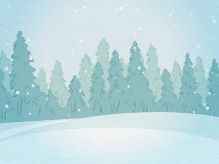 Vintage winter forest landscape. horizontal background