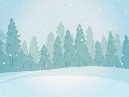 Vintage winter forest landscape. horizontal background