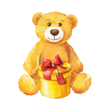 teddy bear sits with a yellow gift. Watercolor. vector
