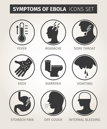diarrea: conjunto de iconos de los síntomas del virus del Ébola. Vector Vectores