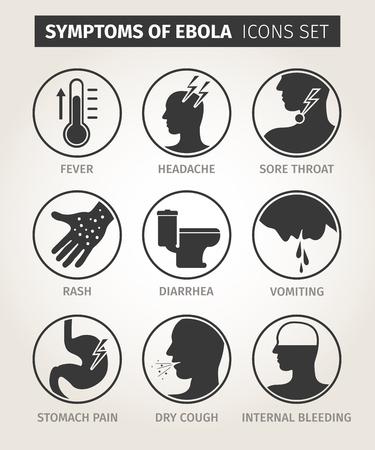 set of icons symptoms Ebola virus. Vector Vettoriali