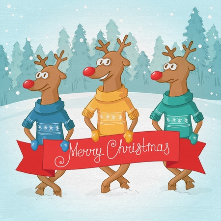 three deer on the background. Winter forest landscape. Postcard Merry Christmas. Vector Vector