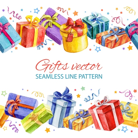 Seamless line pattern with Christmas and New Year gifts. watercolor.  Vettoriali