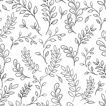 Seamless leaf black and white pattern. Vector background