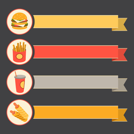strip a dog: vector icon set fast food with vintage ribbons. flat design