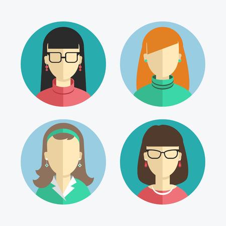 フラットなデザインの女性や少女のアイコンの図。アイコンのコレクション  イラスト・ベクター素材