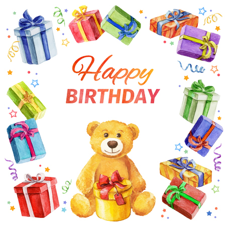 Card Happy Birthday. square frame of gifts and Teddy Bear. watercolor. watercolor. Vector watercolor.