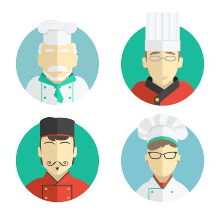 illustration of flat design. the chef icons collection