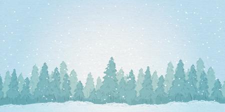 Vintage winter noontimet forest landscape. vector illustration