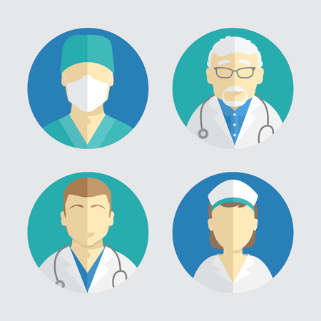 illustration of flat design. people icons collection. doctor and nurse Çizim