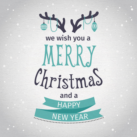 christmas snow: Greeting Card. Merry Christmas lettering. Vector illustration