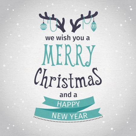 mo�os navide�os: Tarjeta de felicitaci�n. Letras Feliz Navidad. Ilustraci�n vectorial
