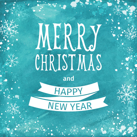 Greeting watercolor Card. Merry Christmas lettering. Vector