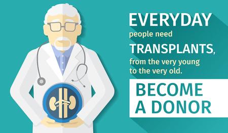 illustration of flat design. poster transplantation organs. Become a donor. Vectores