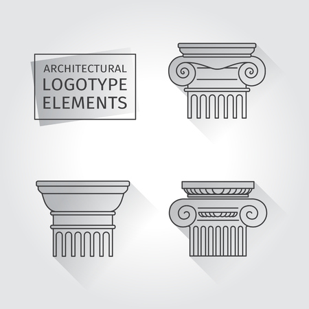 doric: linear icons Columns. Flat with long shadows.