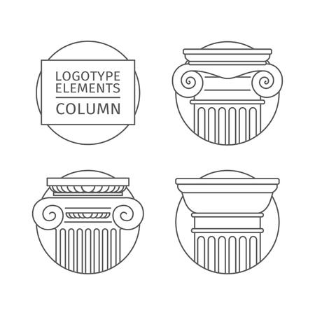 architectural feature: line flat icons Columns. Illustration
