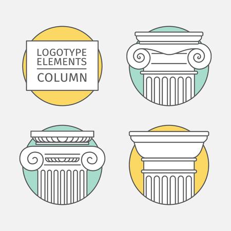line flat icons Columns.  Vector