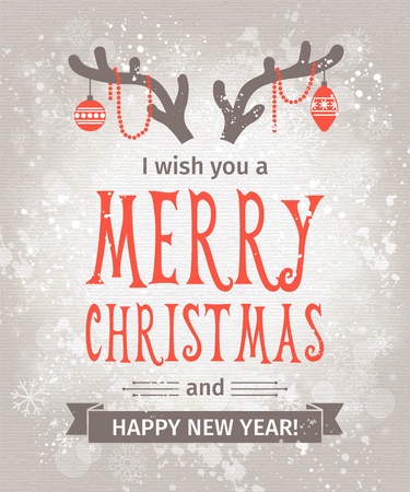 Greeting Card. Merry Christmas lettering