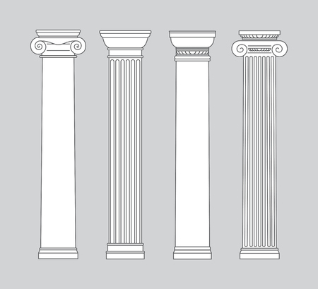 black and white line drawing. columns. Vector illustration