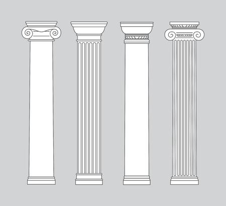zwart-wit lijntekening. kolommen. Vector illustratie