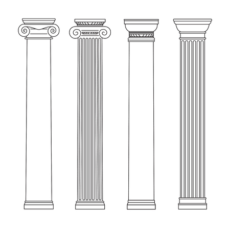 isolated set of columns. black and white line drawing. Vector illustration 矢量图像
