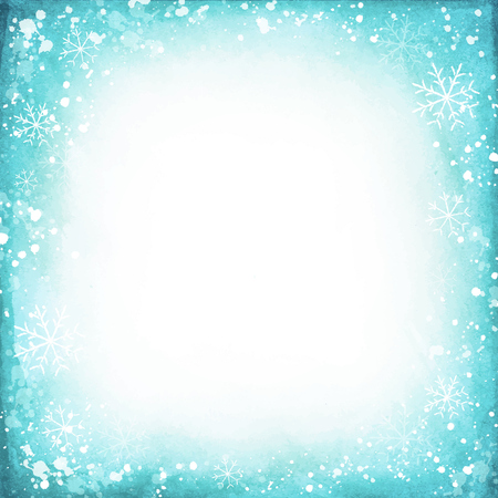 snowflake border: Frame of snowflakes on a watercolor background. Vector